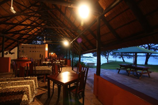 Kariba, Zimbabwe: The dining room at night