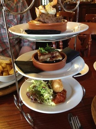 Forres, UK: Scottish tapas - from top, beef, pork belly, cheese