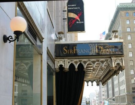 Sir Francis Drake Hotel - a Kimpton Hotel: Entrance on Powell Street where cable cars pass by