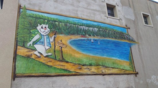 Wiarton Willie walks the Bruce Trail - mural in downtown Wiarton
