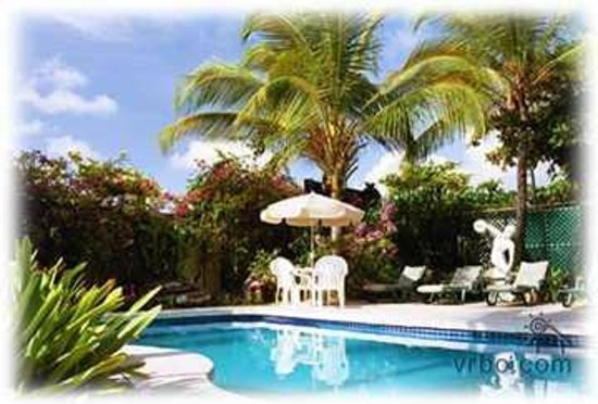Mary's Boon Beach Resort and Spa: Fresh water pool in the garden....Much bigger saltwater pool (The Caribbean!) in the front.