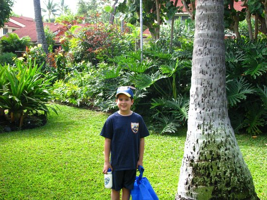 Keauhou Kona Surf And Racquet Club Resort : Grandson Emilio posing near unit 198 