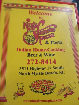 King's Famous Pizza: Front of Menu