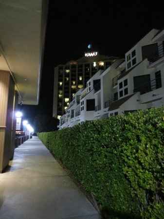 Hyatt Regency Mission Bay: The 3 story Waterfront Suites and the Main Taller Building in the back.