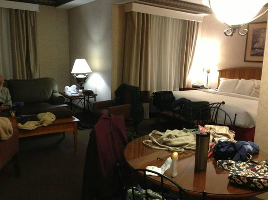 Comfort Suites: Wider view of suite -- pardon our stuff in the way