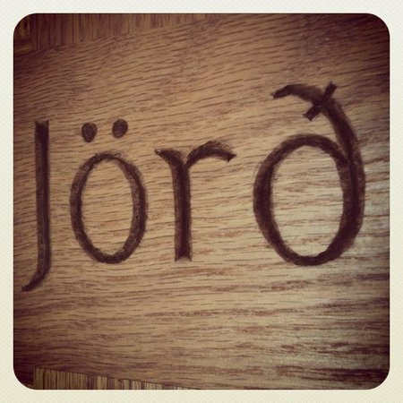 Jonstott Guesthouse: Jörð (earth); Our beautiful hand crafted signage by Mosfellsdal local Stefán Haukur Erlingsson