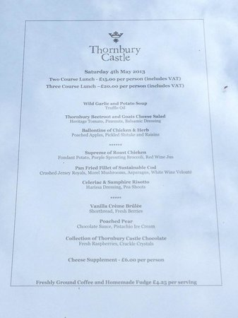 Thornbury, UK: Saturday Lunch Menu