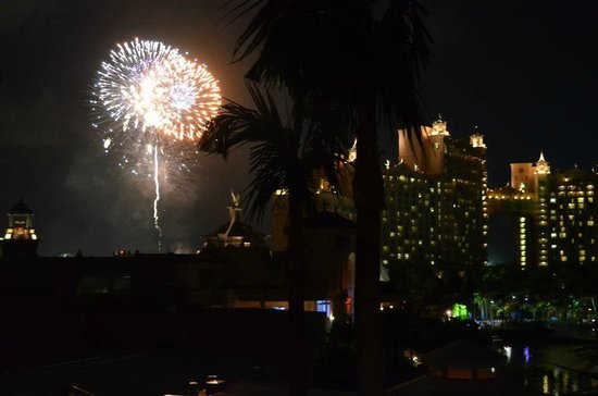 Atlantis - Coral Towers: Saturday night fireworks as seen from Coral Tower room