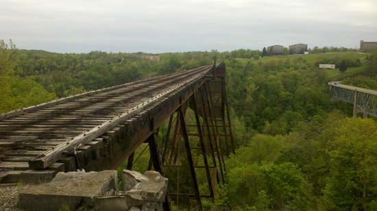Versailles, KY: Bridge cannot be crossed.  End of the line.