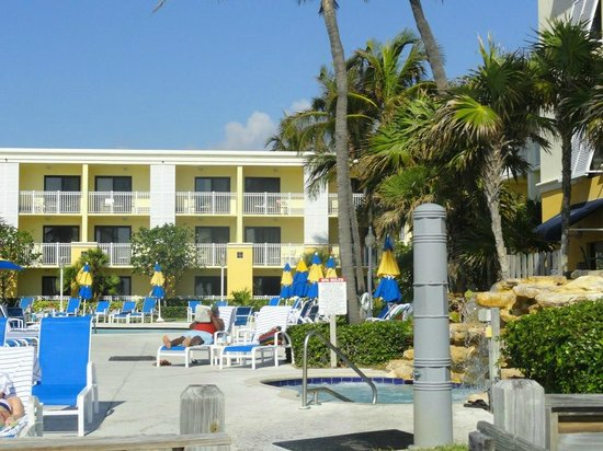 Highland Beach, FL: view from beach looking at hotel poolside balcony rooms with partial ocean view