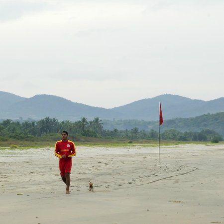 Holiday Inn Resort Goa: The lifeguard enjoys a morning run with his mate