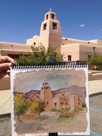 Old Santa Fe Inn: Sketch of a nearby church