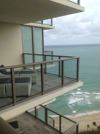 The St. Regis Bal Harbour Resort: View from living room balcony to bed balcony