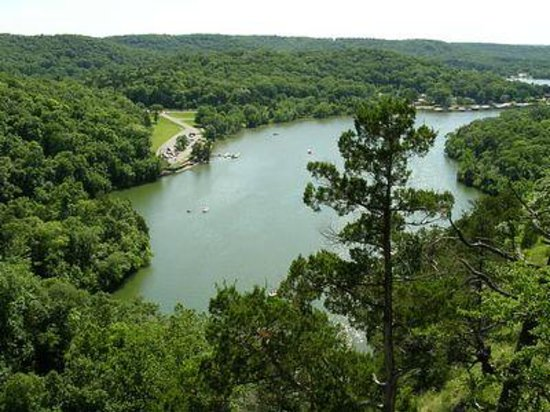 Camdenton, MO: View from the Castle trail to the lake, cove, spring and shoots below.