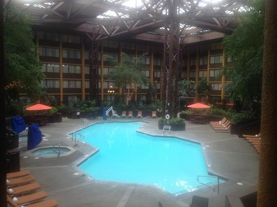 seattle airport marriott view of pool in atrium from inside room