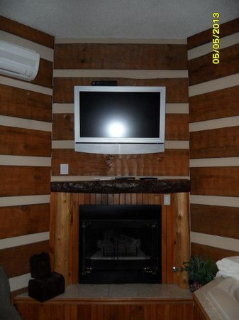 Cooksburg, PA: TV and fireplace