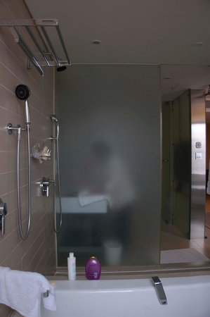โรงแรมล็อตเต้ โซล: Nice bathroom with nice view of city and open shower