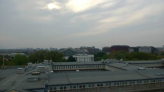 W Washington DC: View of White House from POV Roof Bar.