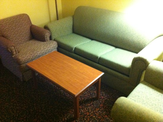 Holiday Inn Express Houston - Hobby Airport: 3 Different colors of furniture-stakced on top of one another.