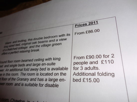 Broadway, UK: Information folder showing 2011 prices in 2013