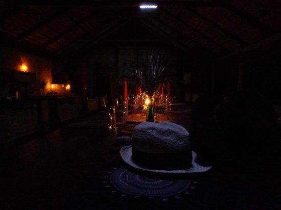Shindzela Tented Safari Camp: Dinner is served.  The lodge looked beautiful every evening.