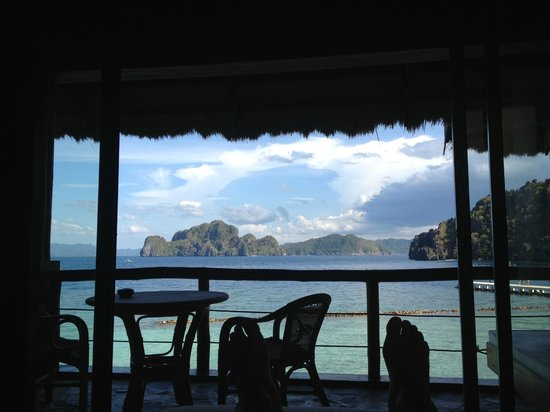 El Nido Resorts Miniloc Island: View from bed in Deluxe Seaview