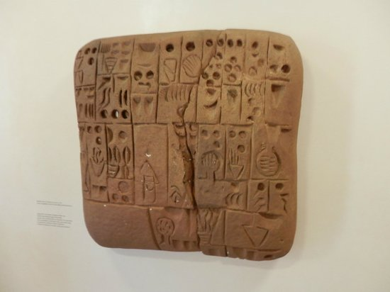 Paderborn, Allemagne : Model of a clay tablet the worlds first written method of communucation 