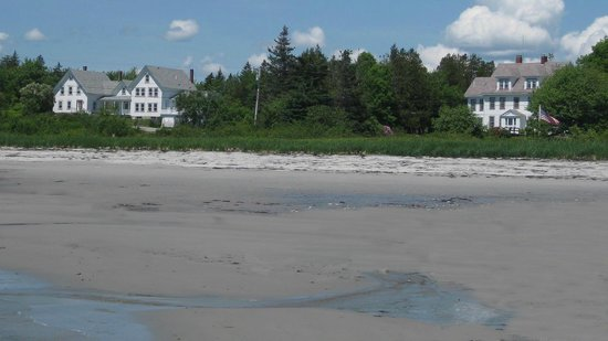 Prospect Harbor, ME: The beach and dunes in front of the buildings of Acadia Oceanside Meadows Inn