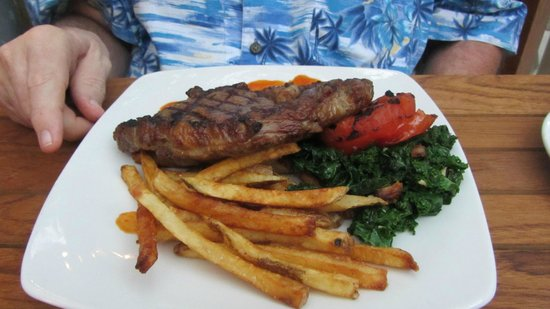 Kawaihae, HI: Ribeye, grilled Kale and French Fries