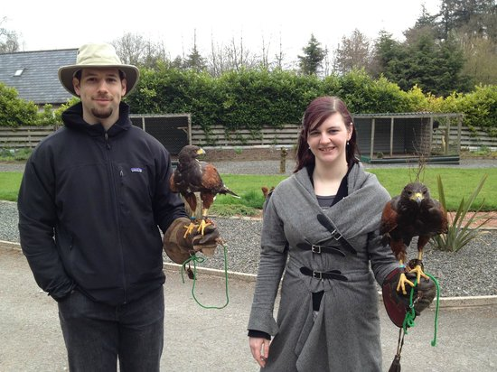 Lockerbie, UK: Us with two Harris Hawks - Spike and Buzz!