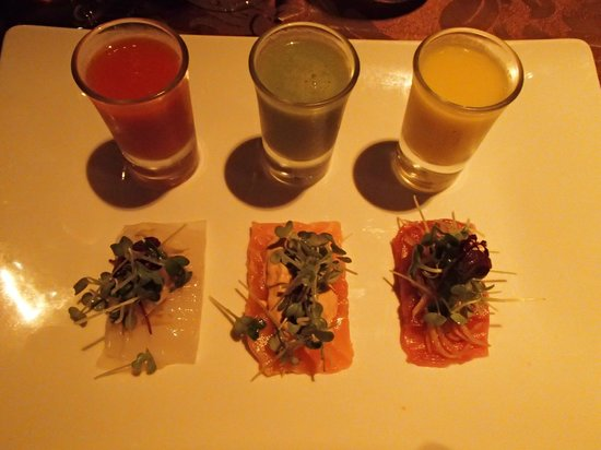 The Oberoi, Mauritius: Trio of sashimi and gazpacho