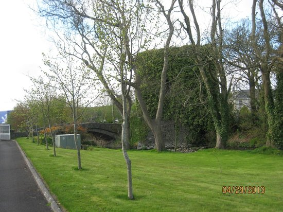 Glin, Ireland: Close up of Old Castle Bridge area at front entrance