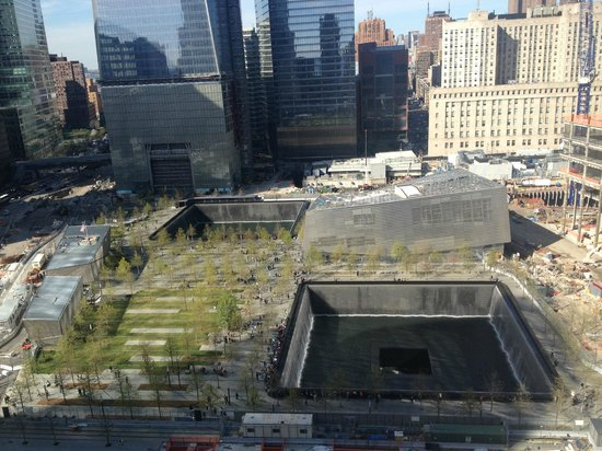 Club Quarters World Trade Center: View of 9/11 memorial from my room