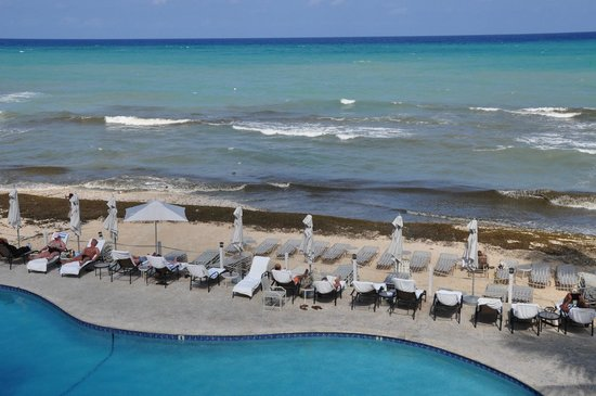 Marriott Grand Cayman Beach Resort: This is a view of the beach from our room. For some reason the seaweed was concentrated on this