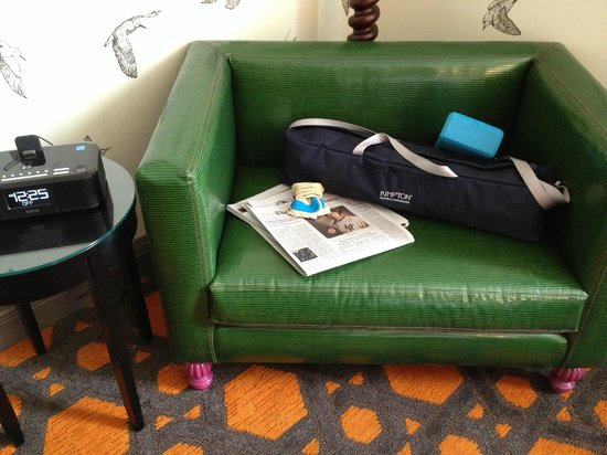 Hotel Monaco Portland - A Kimpton Hotel: My yoga mat, block and the New York Times I requested.