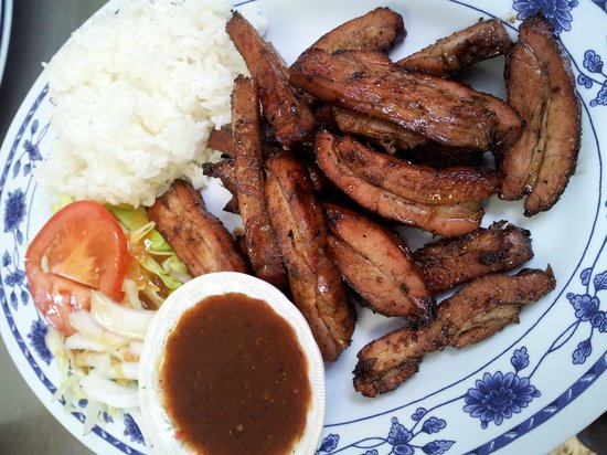 Weed, CA: Bbq pork tips with Rice.