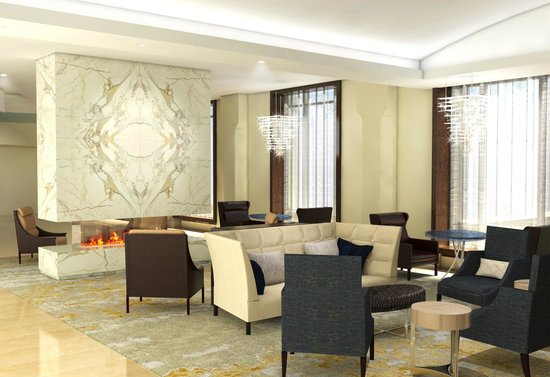 Conrad Chicago: Living Area with Fireplace - Lobby Level