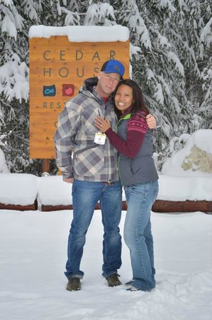 Cedar House Restaurant & Chalets Golden BC: The newly engaged couple