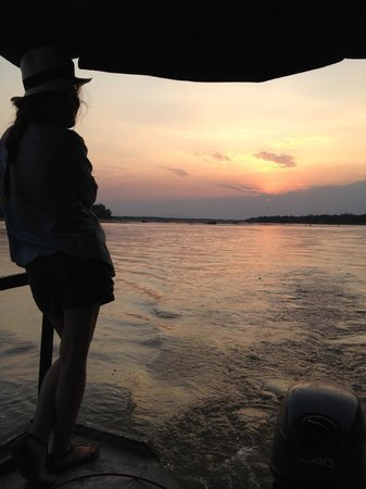 Selous Game Reserve, Tanzania: watching the sunset from our boat