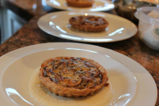 Ladysmith, : Wild and field mushroom tart in a rye crust with sunchoke puree