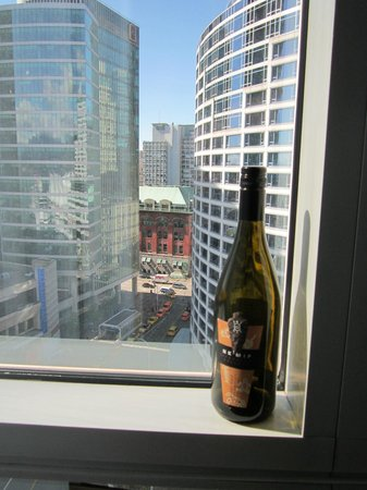 Pan Pacific Vancouver: View of downtown from our room (including some local wine)