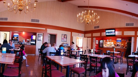 Solvang, CA: view of the breakfast buffet area