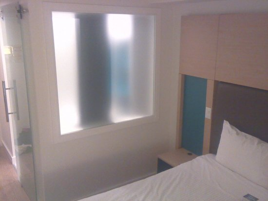 Bond Place Hotel: Frosted Glass separating bathroom/sleeping area. Not a lot of privacy and a lot of light .