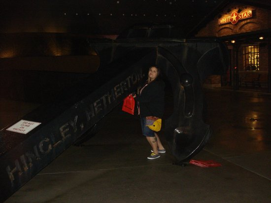 Titanic Museum Attraction: me with the Titanic anchor