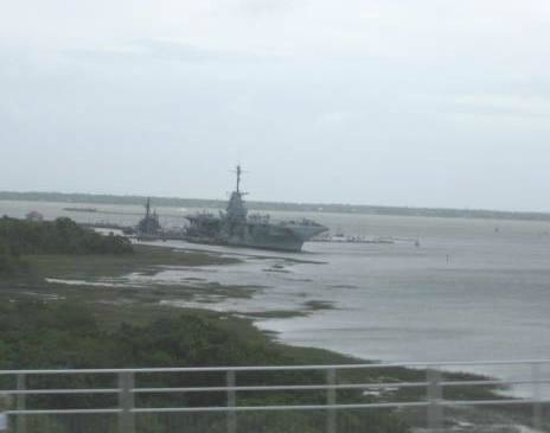 Sullivan's Island, SC: USS Yorktown from the Ravenel Bridge
