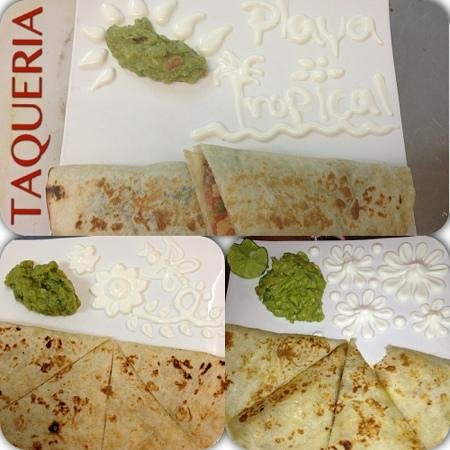 New Westminster, Canada: Burrito & Quesadillas with guacamole & sour cream