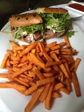 Calabasas, CA: lamb sandwich with sweet potato fries