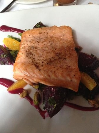 Calabasas, CA: salmon with beet greens