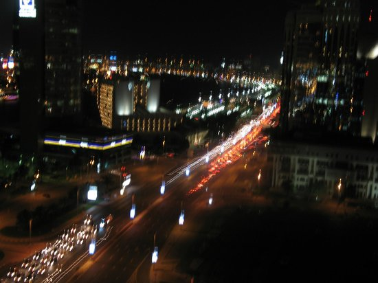 Hilton Dubai Creek: Night time view from the roof bar.