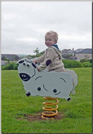 Bude, UK: The springy farm animals in the toddlers play area in the meadow behind the cottages